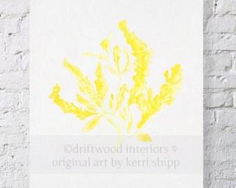 Seaweed Watercolor Art Print in Marigold Yellow - Yellow Coral Wall Art - Sea Life Wall Art - Wall Art Home Decor