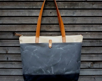 Waxed canvas tote bag / carry all with  leather handles and double waxed canvas bottem COLLECTION UNISEX