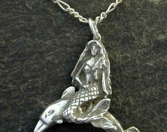 Sterling Silver Dolphin with Mermaid Pendant on Sterling Silver Chain.