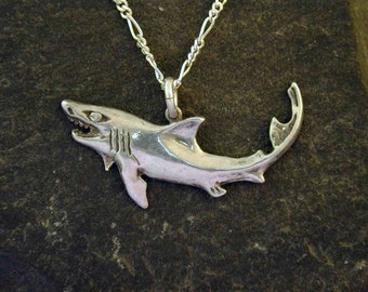 Sterling Silver Shark Pendant on a Sterling Silver Chain