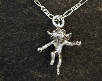 Sterling Silver Cherub Pendant on a Sterling Silver Chain