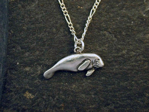 Sterling Silver Manatee Pendant on Sterling Silver Chain.