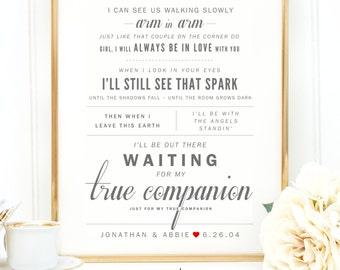 "Light Gray & Scarlet Red, Marc Cohn ""True Companion"" - Valentine's, Wedding Gift, Cotton, Paper Anniversary Gift, Song Lyrics, Art Print"