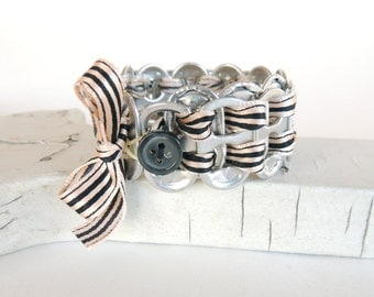POP TAB BRACELET -  soda tab bracelet with ribbon - taupe and black - for kids & teens -  recycled/eco-friendly - under 15.00