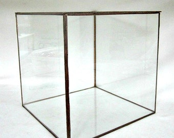 "7"" x 7"" x 9"" Tall, Stained Glass Display Box, Bridal Bouquet Holder"