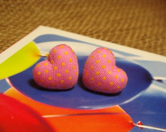 Pink And Yellow Polka Dots Heart Shaped Fabric Covered Button Stud/Post Earrings (E129)