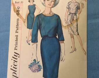 "Vintage Simplicity 5319 Scalloped Dress Suit 1960s Sewing Pattern 35"" Bust"