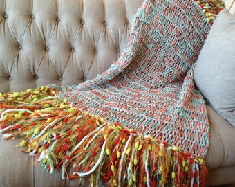 New Mid Century Style Colorful Afghan Decor Throw Blanket, Knit Afghan Mint, Orange, Lime, Green, Aqua Fifties 50s Style Bedding
