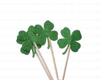 24 St. Patrick's Day Glitter Green Shamrock Four-Leaf Clover Party Picks, Toothpicks,  Cupcake Toppers, Food Picks - No1055
