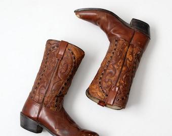 vintage Lariat cowboy boots, brown leather boots, men's size 9