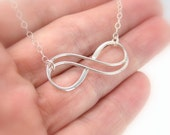 Sterling silver large double infinity necklace, Mother child necklace, Friendship necklace, Wife gift, Infinity pendant Christmas gift