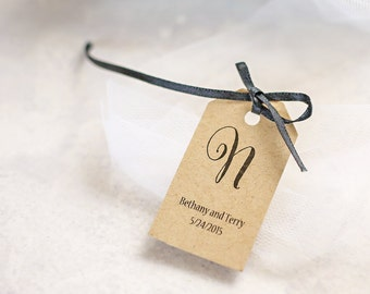 Wedding Favor Tags, Monogram Tag, Name Tag, Personalized Gift Tag, Bridal Shower Favor, Party Favor - Set of 25 (SMGT-CAN)