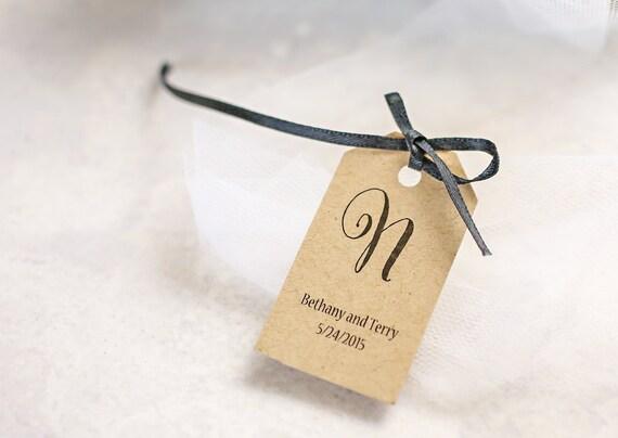 Wedding Gift Name Tags : Wedding Favor Tags, Monogram Tag, Name Tag, Personalized Gift Tag ...