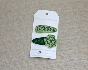Irish shamrock clover 2 pack snap hair clip 100% Wool Feltie