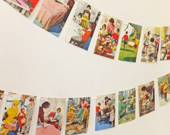 Bunting, Mummy Bunting, Daddy Garland, Paper Banner, Children's Bunting, vintage Ladybird Book, nursery decor, playroom decor
