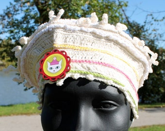White & Off-White Crochet Hat with a Beautiful Hand-Made Pin...