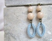 tender nights - earrings with soft blue crocheted pendants with soft colored glass beads