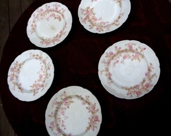 1900's 6 Antique Mark & Gutherz Carlsbad Austrian Porcelain Dessert Plates Pink Blossoms Made in Austria Antique China Tea Party 91