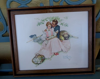 """Vintage 12"""" x 14.5"""" Framed Norman Rockwell Art Print Young Couple Man and Woman Dating Romantic Illustration Vintage Wall Decor RA"""