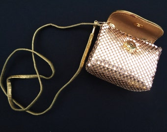 Vintage Gold Metal Scales Purse Metallic Evening Bag Accessories Toy Purse Doll Purse Girl Purse Flower Girl 88