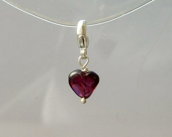 Garnet Heart Charm - Natural Red Rhodolite Garnet Clip On Charm  - Sterling Silver for Valentines Day - Add On Charm