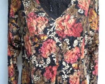 Vintage Floral Lace Bohemian Maxi Dress