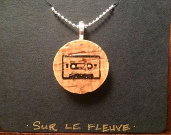 Cassette Tape Cork Pendant Necklace