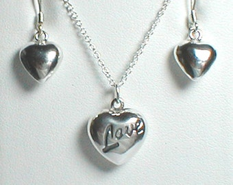 """Heart Necklace """"Love""""  and Heart Earrings - Sterling SIlver with an 18"""" Chain"""