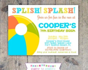 BEACH BALL Pool Party Birthday 5x7 Invitation- PRINTABLE