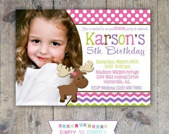MISS MOOSE 5x7 Photo Birthday Party Invitation - Girl Printable