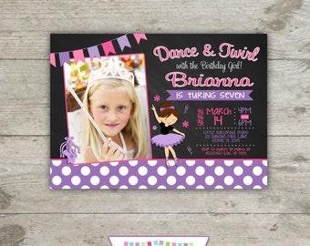 CHALKBOARD BALLET Photo 5x7 Birthday Party Invitation - Printable
