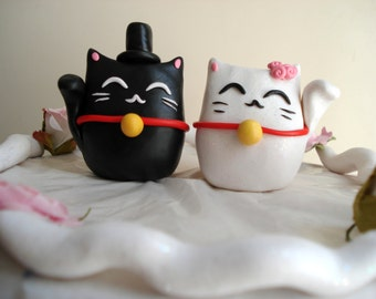 Lucky Cat Cake Toppers Wedding Decorations Cake Decor Wedding Cake Topper Anniversary Keepsake Mr and Mrs Topper Lucky Cats