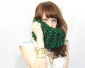Chunky Knit Cowl Scarf, Emerald Green