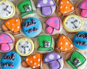 5 Dozen Alice in Wonderland Theme Cookie Nibbles