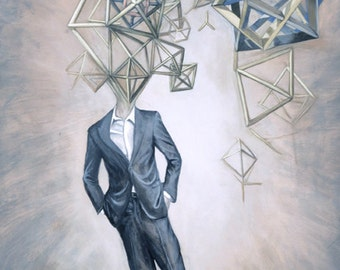Octahedron Business Man Sacred Geometry Art Print