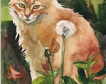 Giclee Print of the Original Watercolor Painting Red Cat Kitty Ginger Cat Dadellion Summer
