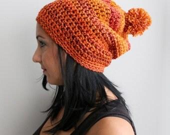 Pom Pom Orange Beanie, Pumpkin Spice Orange Crochet Slouchy Beanie Hat, Fashion Accessories