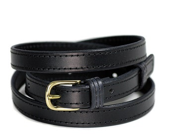 Black skinny belt, narrow, skinny width, black, handmade, Melbourne, Australia, brass hardware, fits pants belt loops, leather, waist belt