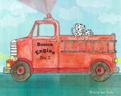 Firetruck and Dalmations - Customizable Art Print