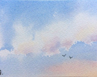 ACEO Original watercolor painting - Pale blue summer sky