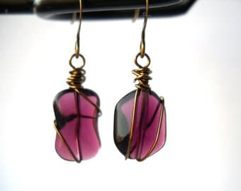 Purple wire wrapped asymmetric earrings: Origins of Love - handmade earrings, plum purple, purple earrings, unique, wire wrapped, bronze