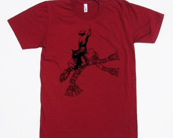 star wars AT AT cowboy on mens t shirt- american apparel cranberry, available in s, m, l, xl, xxl worldwide shipping