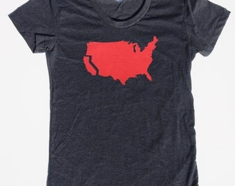 Womens California t shirt on american apparel heather black- available in s, m, l, xl- worlswide shipping