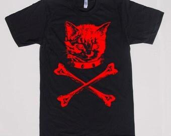mens kitten crossbones shirt- American Apparel black- available in S,M,L,XL,XXL- Wordwide Shipping