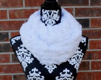 Infinity Scarf White Swirl Faux Fur