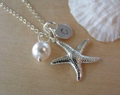 Bridesmaid Starfish Necklaces Pearl Wedding Jewelry Personalized Hand Stamped Disk