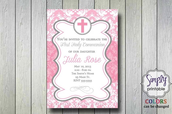 Girls Communion Invitation or Baptism Invitation Pink Damask