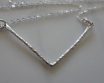 Chevron Necklace in sterling silver, hammered, geometric pendant, statement necklace, v shape necklace