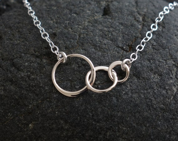 Three circle necklace silver tiny three linked circles sweet like this item aloadofball Image collections