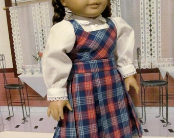 Historical Dress,  Blouse, Plaid Jumper,  18 inch Doll Clothes